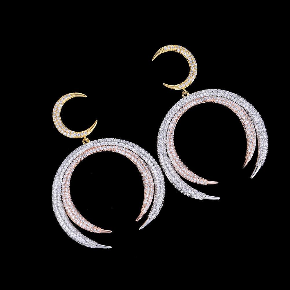 Популярные длинные висячие серьги с кубическим цирконием для женщин Свадебные ювелирные изделия