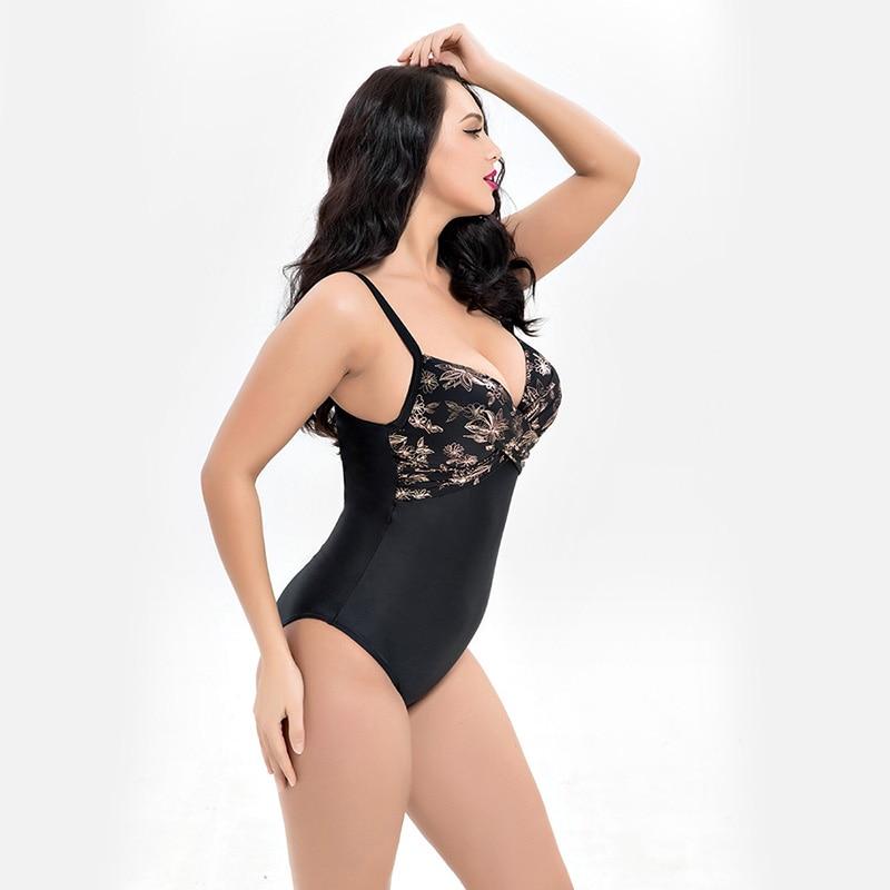 5e5bd60ae0b Push Up one piece Swimsuit plus size Swimwear Women Large Size one piece  Beach Swimsuit fat Female swimwear big women sexy girls