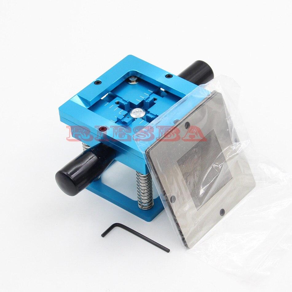 Blue BGA reballing kit 90*90mm BGA reballing station with hand shank Gift 10/PCS BGA Universal Stencil 6fx1112 0aa02 90