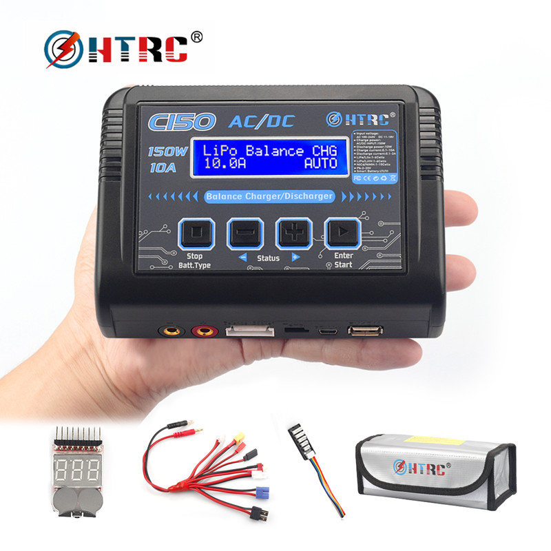 New HTRC C150 RC Charger AC/DC 150W 10A Smart For LiPo LiHV LiFe Lilon NiCd NiMh Pb Battery Discharger Battery Balance Charger