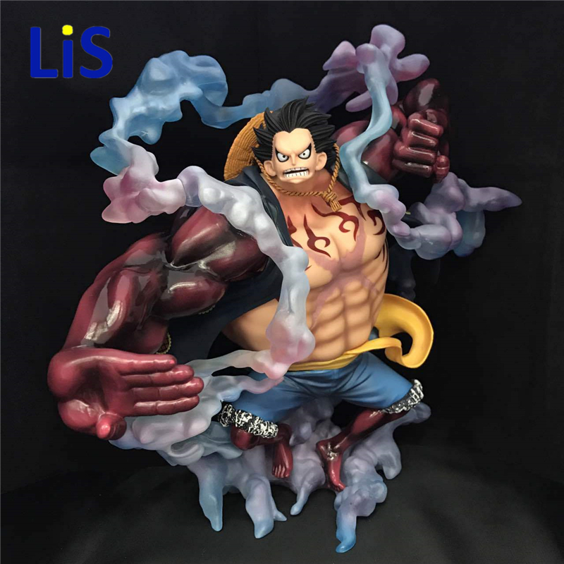 Lis Anime One Piece Monkey D Luffy Gear 4 Bound Man Big PVC Action Figure Resin Collection Model Toy Gifts Cosplay 25cm anime one piece edition film z monkey d luffy pop pvc action figure collection toy op068