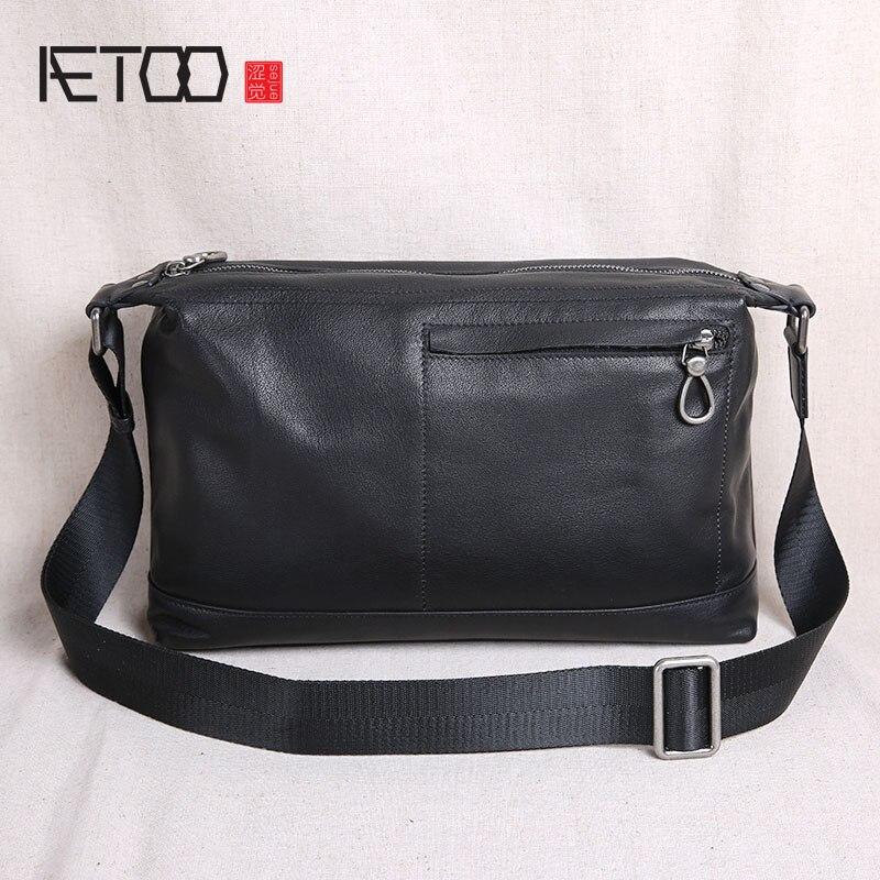 AETOO Shoulder bag men's leather Messenger bag casual top layer leather men's bag new wave soft leather cross section men's bag