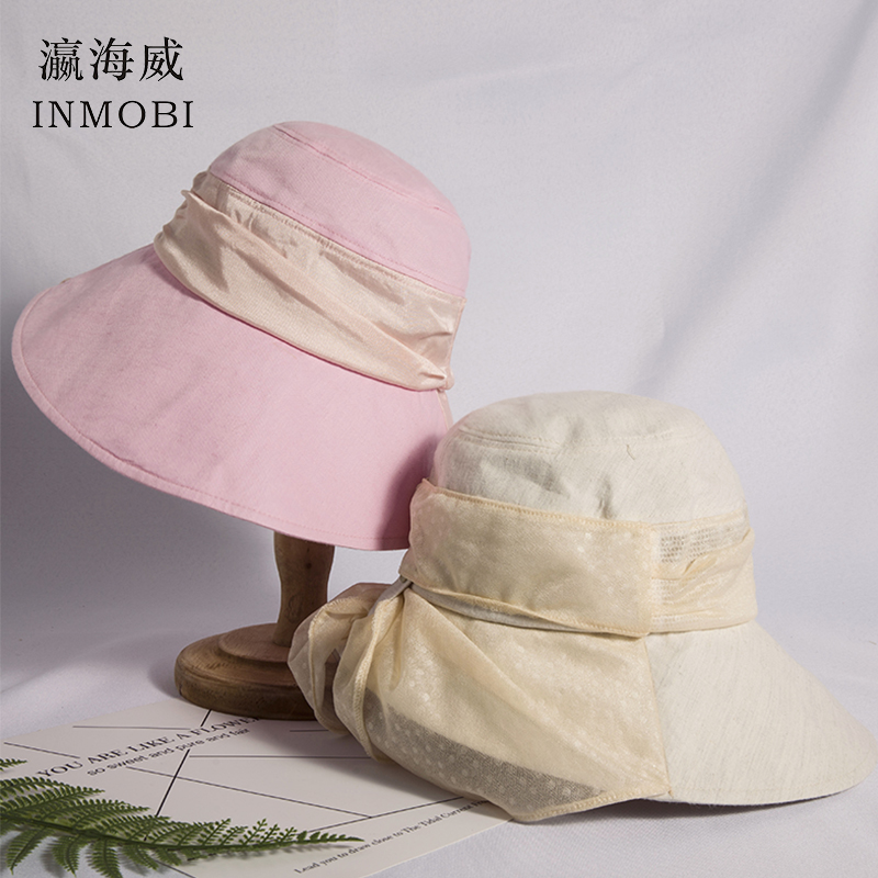 Bright Bow Knot Sun Hats For Women With Big Brim Spring Summer Pink Beige Beach Visor Hat Fishing Cap Bucket Hats With Silk Band Bow Preventing Hairs From Graying And Helpful To Retain Complexion