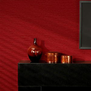 Solid Color PVC 3D Embossed Wallpaper Red Modern Simple Straw Textured Wallcovering