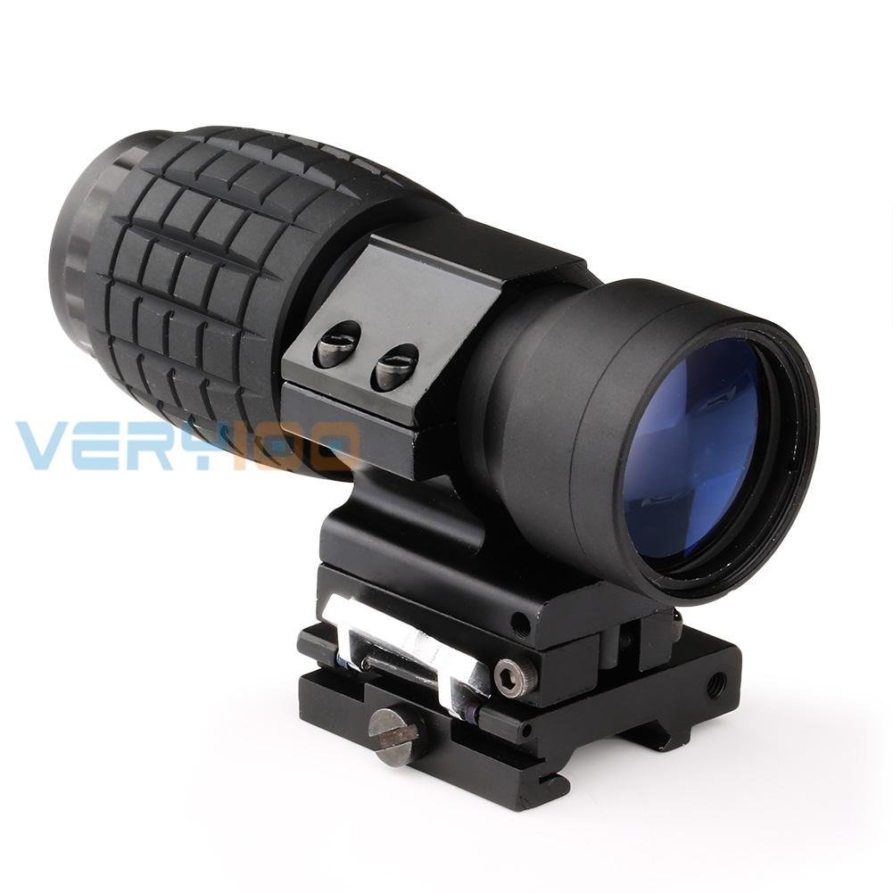 Hunting 3X Magnifier Tactical Scope Sight W/ Flip To Side 20mm Rail Mount Free Shipping free shipping 20mm rail tactical 4x magnifier quick flip scope w flip to side mount fit for holographic sight