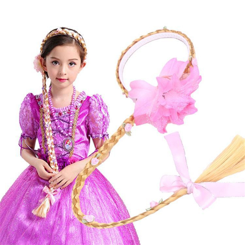 Girls Rapunzel Wig Children's Braids Gift For Birthday Party Holloween Cosplay Supply Kids Falsa Hair Princess Plaits Wig