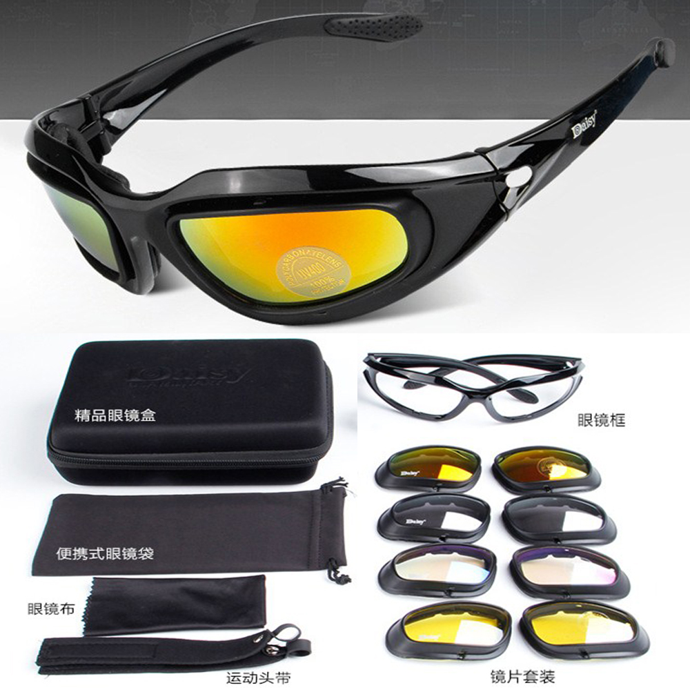 9718dd394b Fashion Sports 4 lenses Replaceable Outdoor protection glasses safety  Goggles Anti Sand impact Multi function Military eyewear-in Sunglasses from  Apparel ...