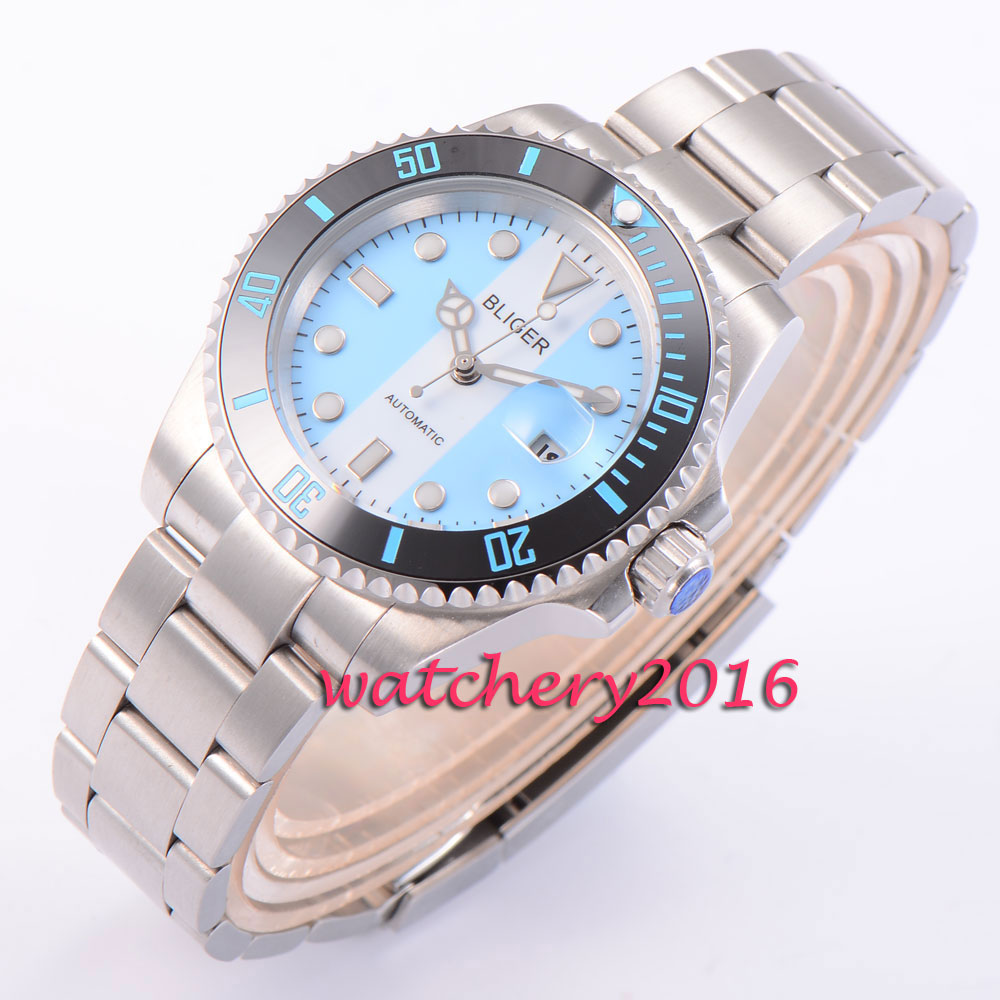40mm Bliger blue&white dial black ceramic bezel deployment buckle sapphire glass date luminous automatic movement Men's watch