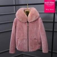 Winter Fuax fox collar Very good quality sheep Fur Coat Winter Women Luxury Faux Fox Fur Furry Slim Woman Fake Fur jacket wj1765