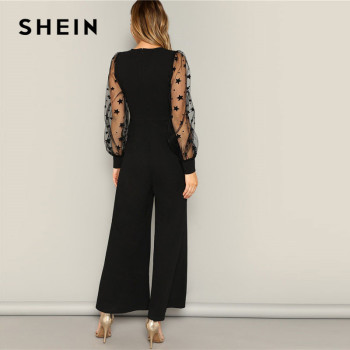 SHEIN Black Contrast Mesh Galaxy Print Sleeve Top And Wide Leg Pants Jumpsuits Women Elegant V neck OL Work Plain Jumpsuit Jumpsuits Women's Women's Clothing