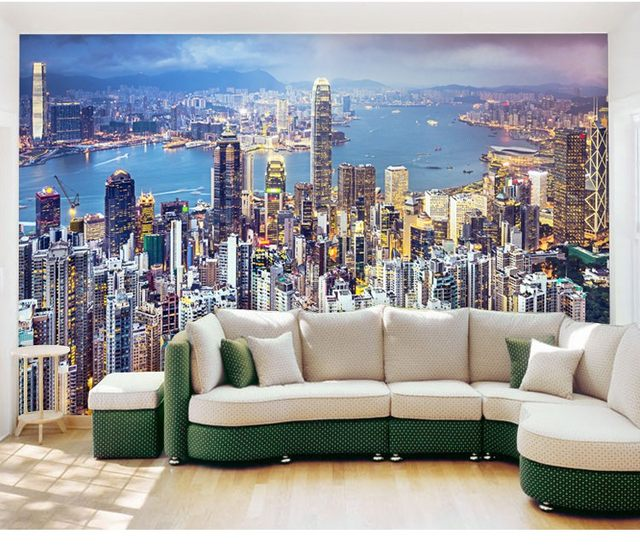 Custom Mural Hongkong City Night Scene Skyscrapers Neon Light Wallpaper Bar  KTV Living Room Bedroom Background Art Wallpaper