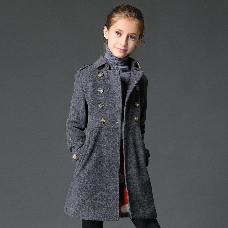 цена 2017 winter girl jacket,children winter wool coat,clasic girls coat for 120-160cm tall free shipping top quality coat overcoat