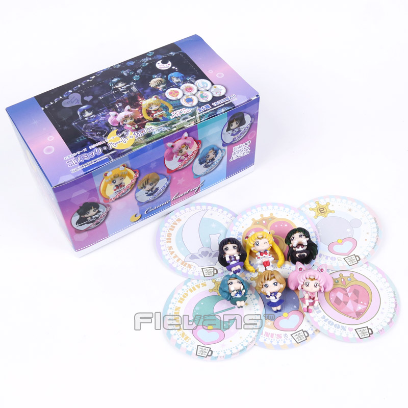Sailor Moon Tea Cup Decorations Mini PVC Figures Toys 6pcs/set Tsukino Usagi Chibi Usa Sailor Uranus Pluto Neptune Saturn Boxed amsterdam tea set 6 cup royal blue