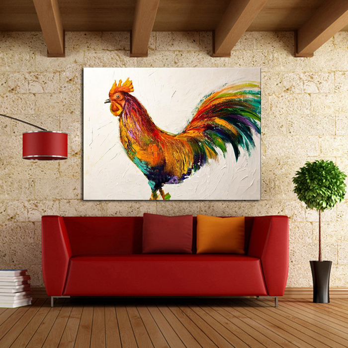 100%Handpainted Oil Paintings Wall Pictures Animal Oil Painting on Canvas Beautiful <font><b>Rooster</b></font> Wall Art for <font><b>Home</b></font> <font><b>Decoration</b></font>
