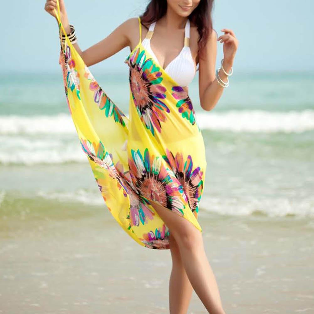 Fashion Summer Women Sexy Chiffon Beach Towel Pareo Sarong Cover-ups Off-shoulder Strapless Dress