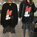 autumn and winter Maternity Sweater plus cotton fabric stitching Chiffon Dress Mickey