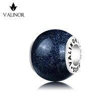ブルー金星石 925 スターリングシルバービーズチャームフィットブレスレット & バングル TRBS016