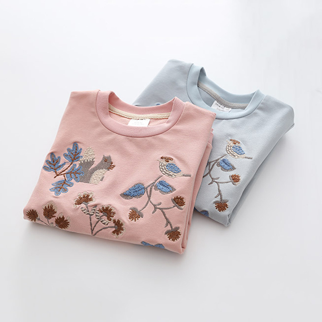 Kids Girls T Shirts Autumn 2018 Fashion Embroidery Pattern Kids T Shirt Long Sleeve Simple O-neck Children Clothing B0699