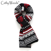 Men S Soft Knit Warm Long Scarf Skull Printed Scarves Men Classic Design Winter Boys Men