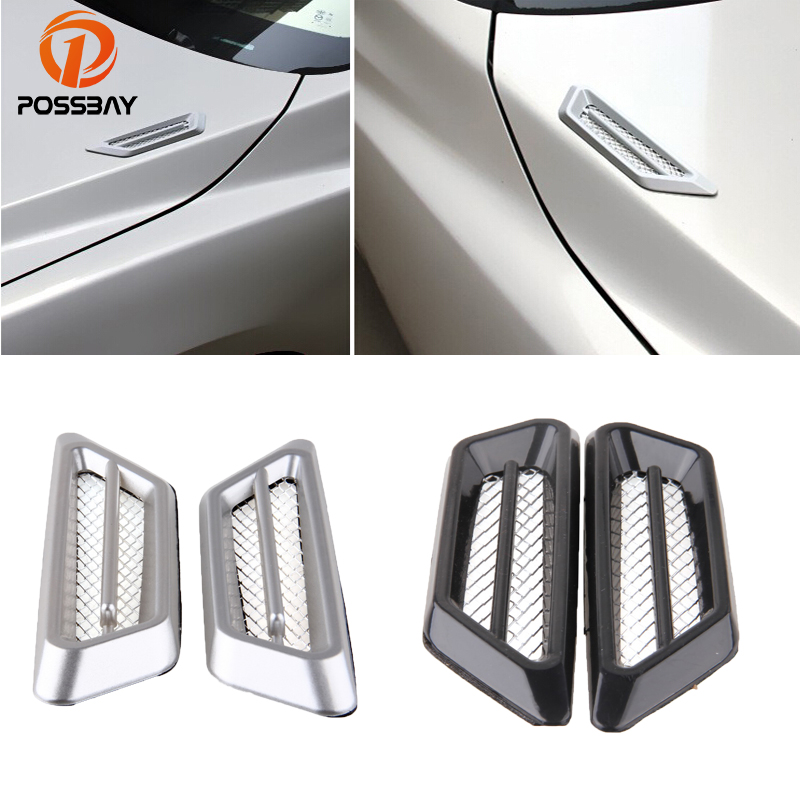 Car Side Air Flow Fender Hook Cover Mesh Duct Scoop Grille Vent Decal Sticker