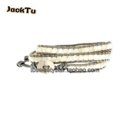 Белый перламутр серебристо-серый кожаный браслет обруча