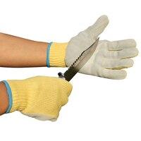 Urijk Professional Enhanced Anti Cutting Stabbing Gloves Multifunction High Temperature Resistance Aramid Cowskin Gloves