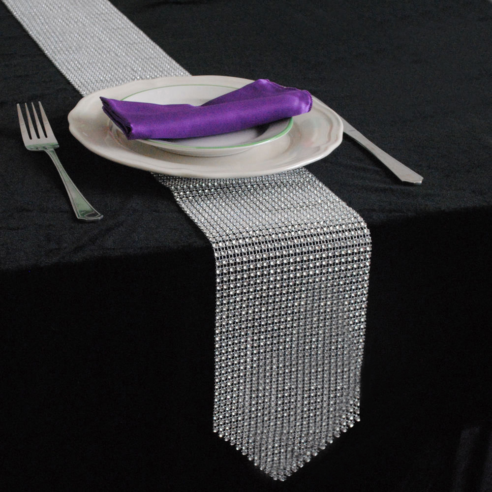 10pcs 12cmx275cm Sparkling gold silver Diamond Table Runner diy for Wedding Party Banquet decoration Accessories Home Textiles