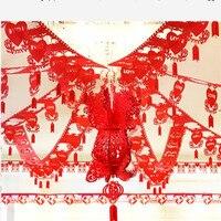 Gorgeous Huwelijksceremonie Decoratie Set Trouwzaal Prop Creatieve Dubbele Geluk Opknoping Banners met Lantaarn/Bloemen Bal