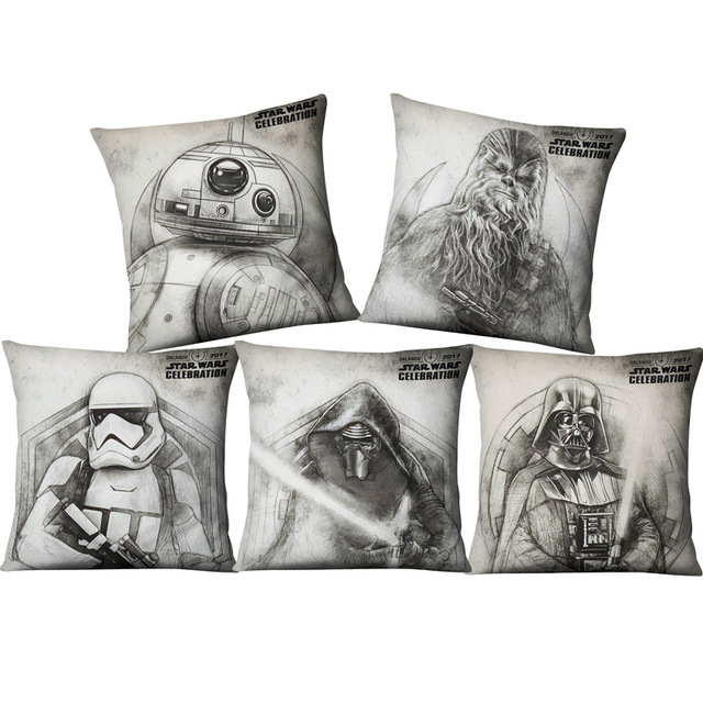 Amazing Us 2 3 Hand Paintings Star Wars Yoda Darth Vader Cushion Cover Home Decor Sofa Chair Seat Decorative Throw Pillowcase Almofada Cojines In Cushion Creativecarmelina Interior Chair Design Creativecarmelinacom