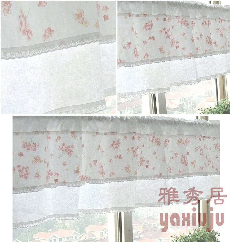 Free Shipping Cotton Lace Pink Floral Country Rustic Semishade Curtain Kitchen Curtains Coffee Curtain 150