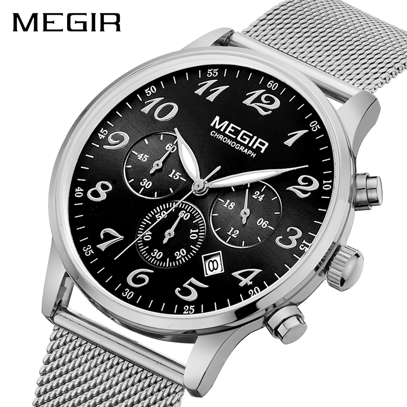 Fashion Brand MEGIR Men Wrist Watch Gold Relogio Masculino Luxury Chronograph Quartz Army Military Watches Clock Men Reloje 2022 benyar luxury top brand men watches sports military army quartz wrist watch male chronograph clock relogio masculino gift box