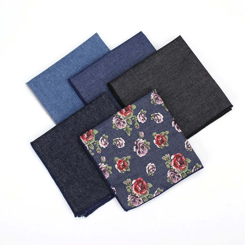 Men Cotton Blue Denim Flower Pocket Square Handkerchief Wedding Hanky NEW BWTYF0124