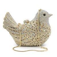 Venda de Luxo Hot Diamante Saco Pássaro Mulheres Animal de Cristal Noite Saco de Mão de embreagem Para A Festa de Mulher Bolsa Cadeia Bolsas Mini Baobao