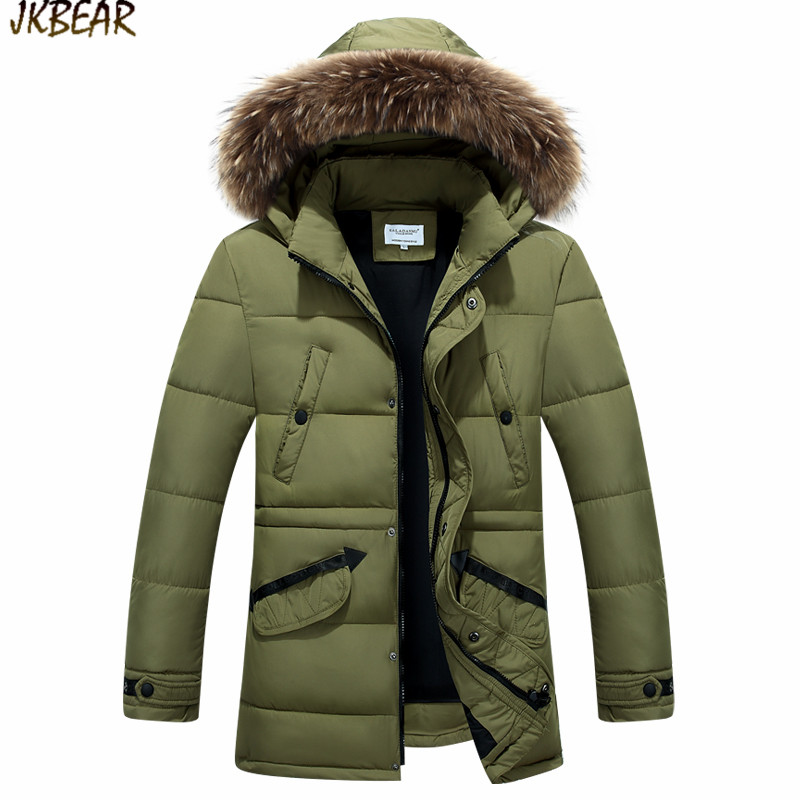2016 New Big Faux Fur Hooded Cotton-Padded Parkas for Men Military Army Green Male's Autumn Winter Thicken Coats Plus Size M-3XL