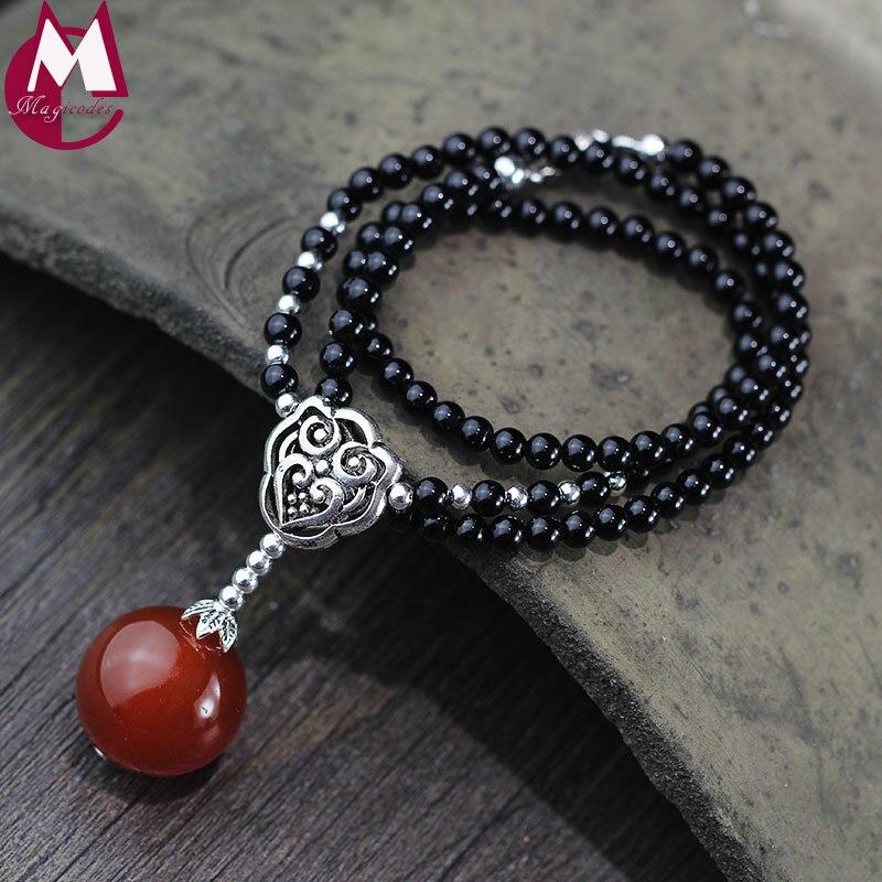 5mm Rond Noir Agate Perles Chaîne 20mm Rouge Bijou Pendentif De Luxe De Mariage Bijoux Creux Réel 925 Sterling Argent collier Femmes
