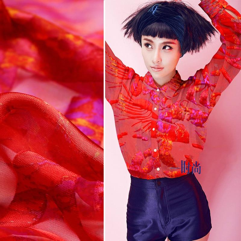 c6b4a26bc76d Silk vaguely irregular bottom embryo Xiao Jianhua scarce red silk drape  fabric wholesale high quality silk cloth