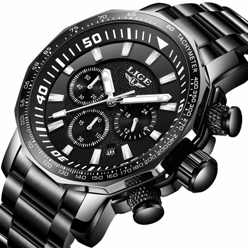 LIGE Watch Men Fashion Business Sport Watch Mens Watches Top Brand Luxury Full Steel Waterproof Quartz Clock Relogio Masculino lige mens watches top brand luxury fashion business quartz watch men sport full steel waterproof clock man box relogio masculino