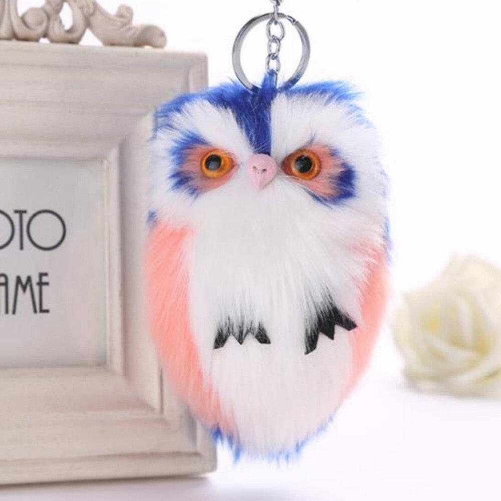 Cute Fluffy Owl Keychain & Pendant Women Key Ring Holder Faux Bunny Rabbit Fur Pompoms Key Chains For Handbag Plush Keyring