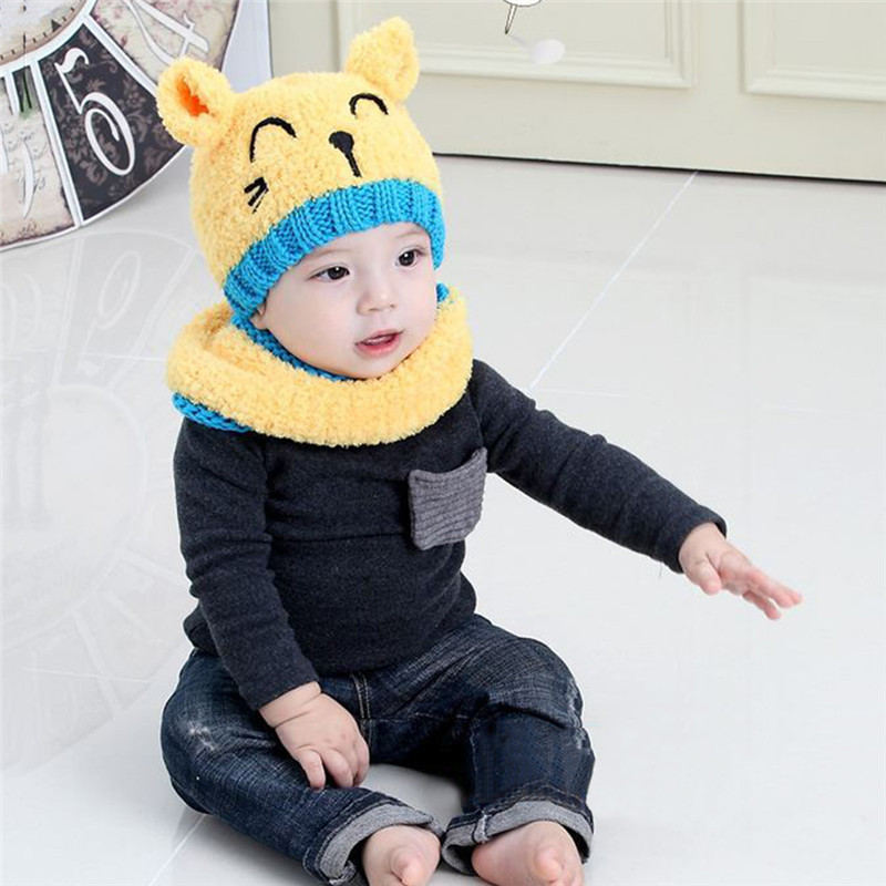 Winter Cute Cat Knitted Baby Caps and Scarves Boys Girls Toddler Beanie Earmuff Baby Hat Children Caps Scarf Set