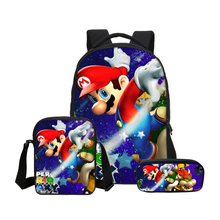 Hynes Eagle 3Pc/Set School Bag For Boys Girls Cartoon Super Mario Prints Backpacks Kids Bookbag Casual Shoulder Bag Travel Bag