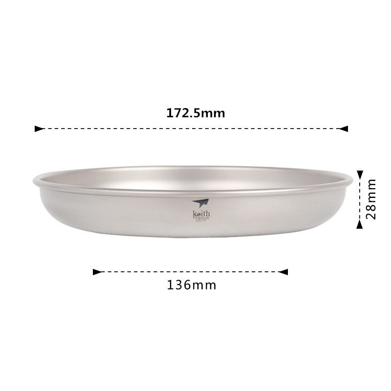 Titanium Camping Picnic Plate Cookware Outdoor Lightweight Tableware Dish Plate
