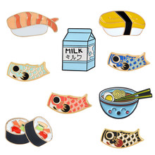 Japanse Voedsel Broches collection Sushi Melk Ramen Vis Koi vlag Bag Kleding Decoratieve Sieraden Broche Revers Emaille Pin Badge(China)