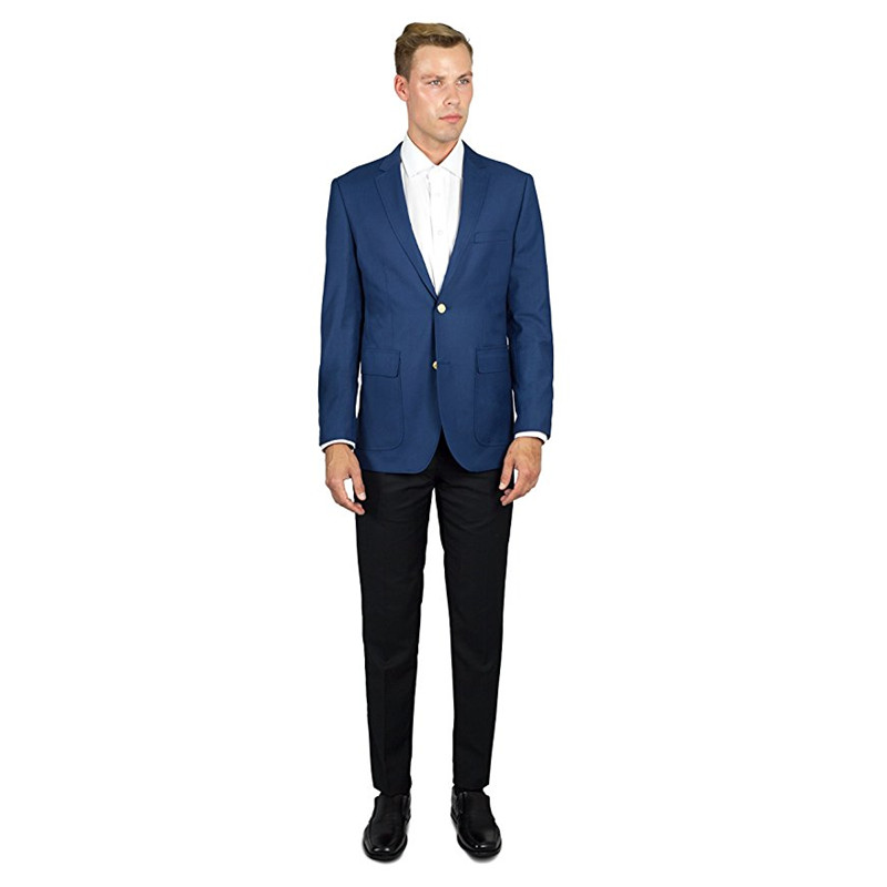 best cheap 55e9e 116cf US $76.49 15% di SCONTO|Custom Made Giacca Blu Nero Pantaloni Groomsman  Uomini Suits Due Button Pezzi Slim Fit Uomo Blazer Smoking Dello Sposo  (giacca ...