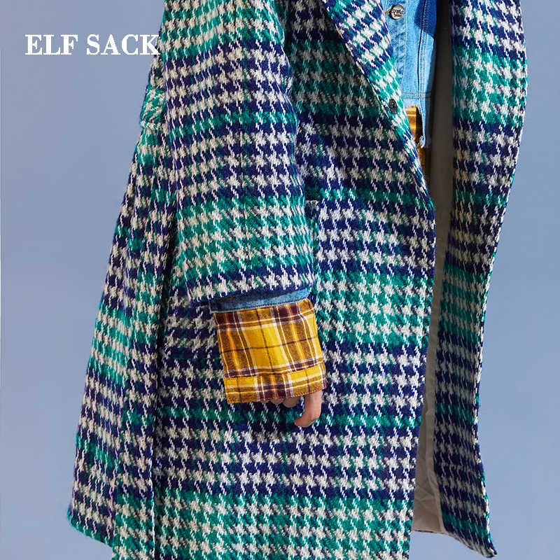 ELFSACK Winter New Wool Coats Plaid Vintage Wasited Hooded Womens Outerwear Thick Woolen Long Loose Collage Coats Femme Jackets