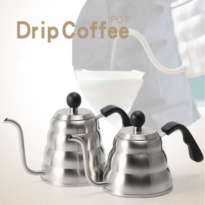 1 2L Works on Gas Drip Gooseneck Pour Over Coffee and Tea KettleTurkish Coffee Pot Mocha Moka Pot Koffiepot With Thermometer in Coffee Pots from Home Garden