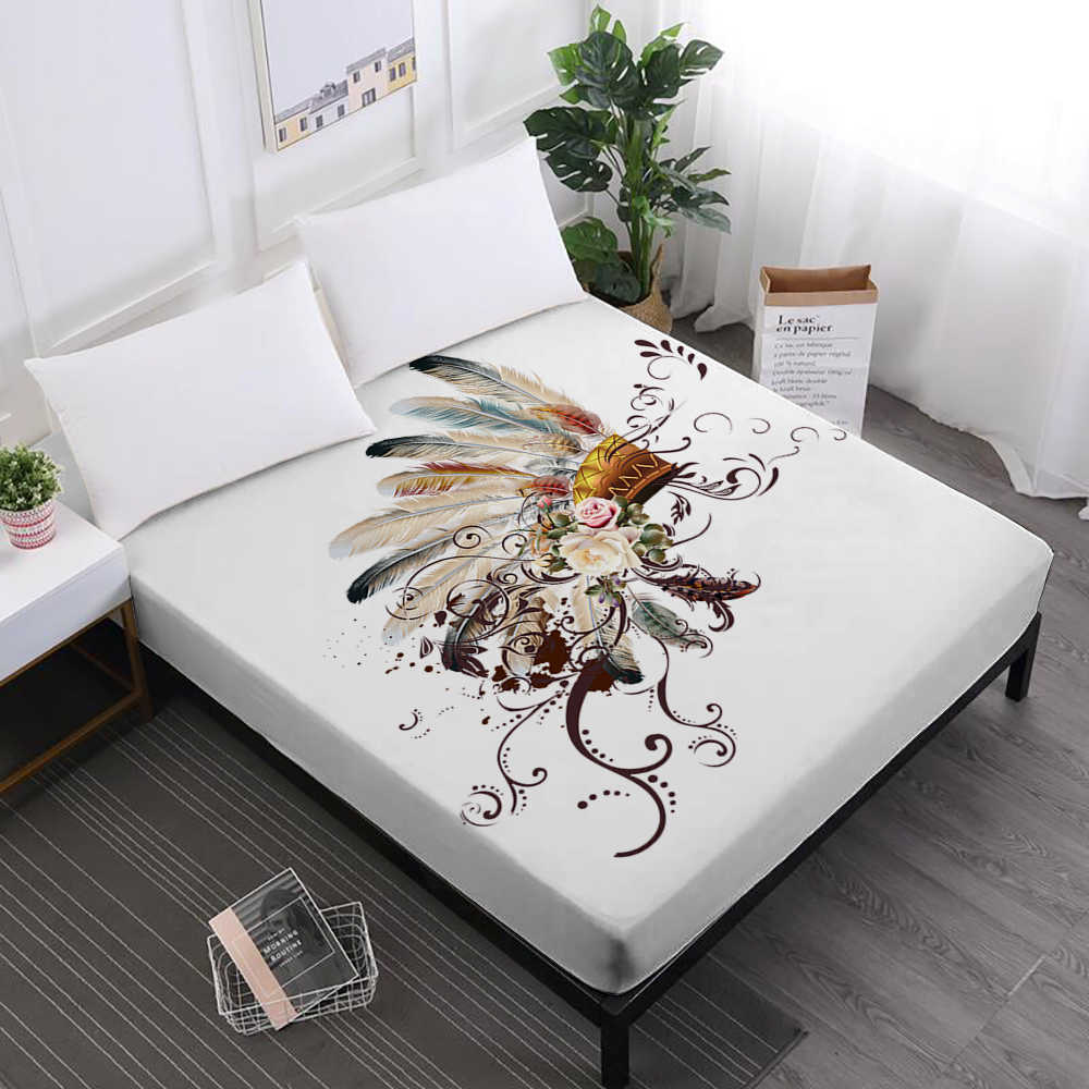 Bohemia Series Bed Sheets Colorful Feather Dreamcatcher Print Fitted Sheet Mandala Flowers Mattress Cover Elastic Home Decor D35
