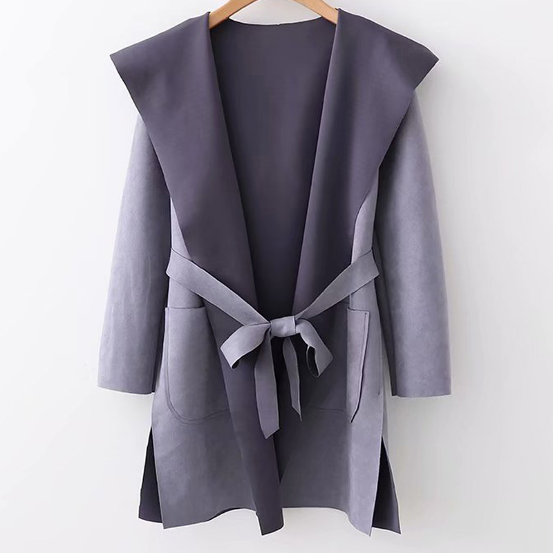 Gray Suede Hooded Side Slit Long Sleeve Coat Jacket