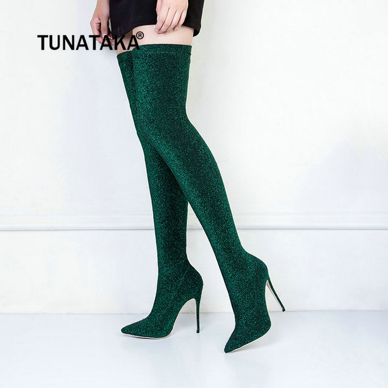 Womens Elastic Boots Sexy Thin High Heel Over The Knee Boots Slip On Pointed Toe Thigh Boots Fashion Woman Boots