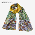 "100% Silk Oblong Scarf Art Printing Wrap Shawl Van Gogh's Famous Oil Painting Works -""Irises"" 1890 Hand Rolled"