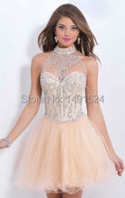 2015 New Fashion Homecoming Kleider Sexy Halter Mini Chiffon Short Crystal Mieder Kurze Cocktailkleider